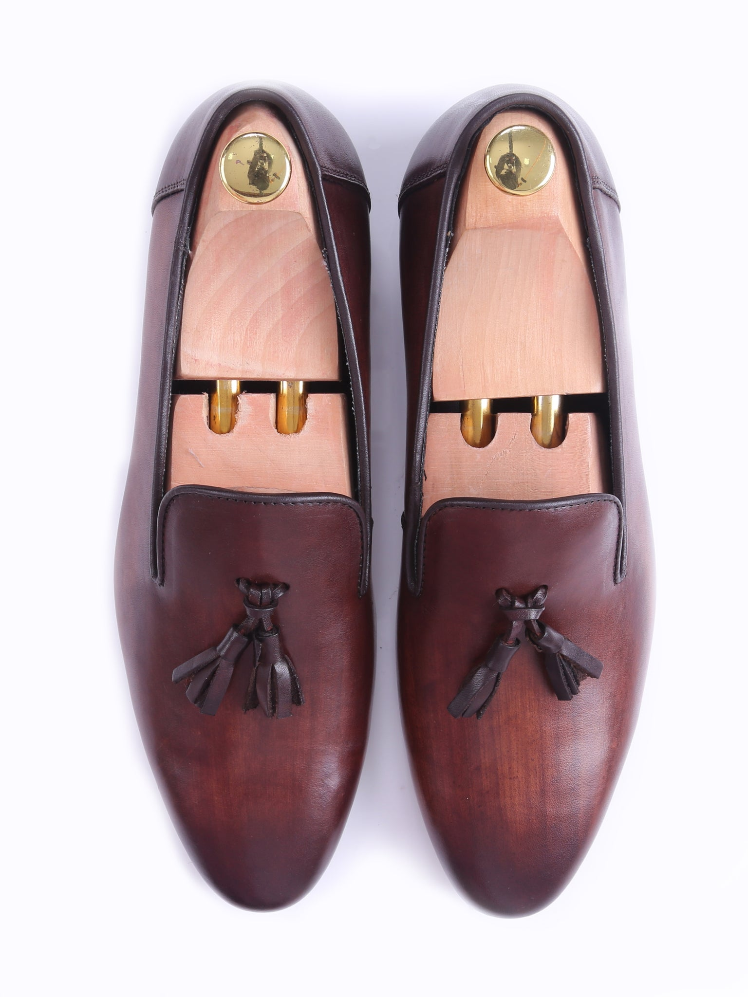 Shoes Loafer Slipper - Dark Brown (Hand Painted Patina)