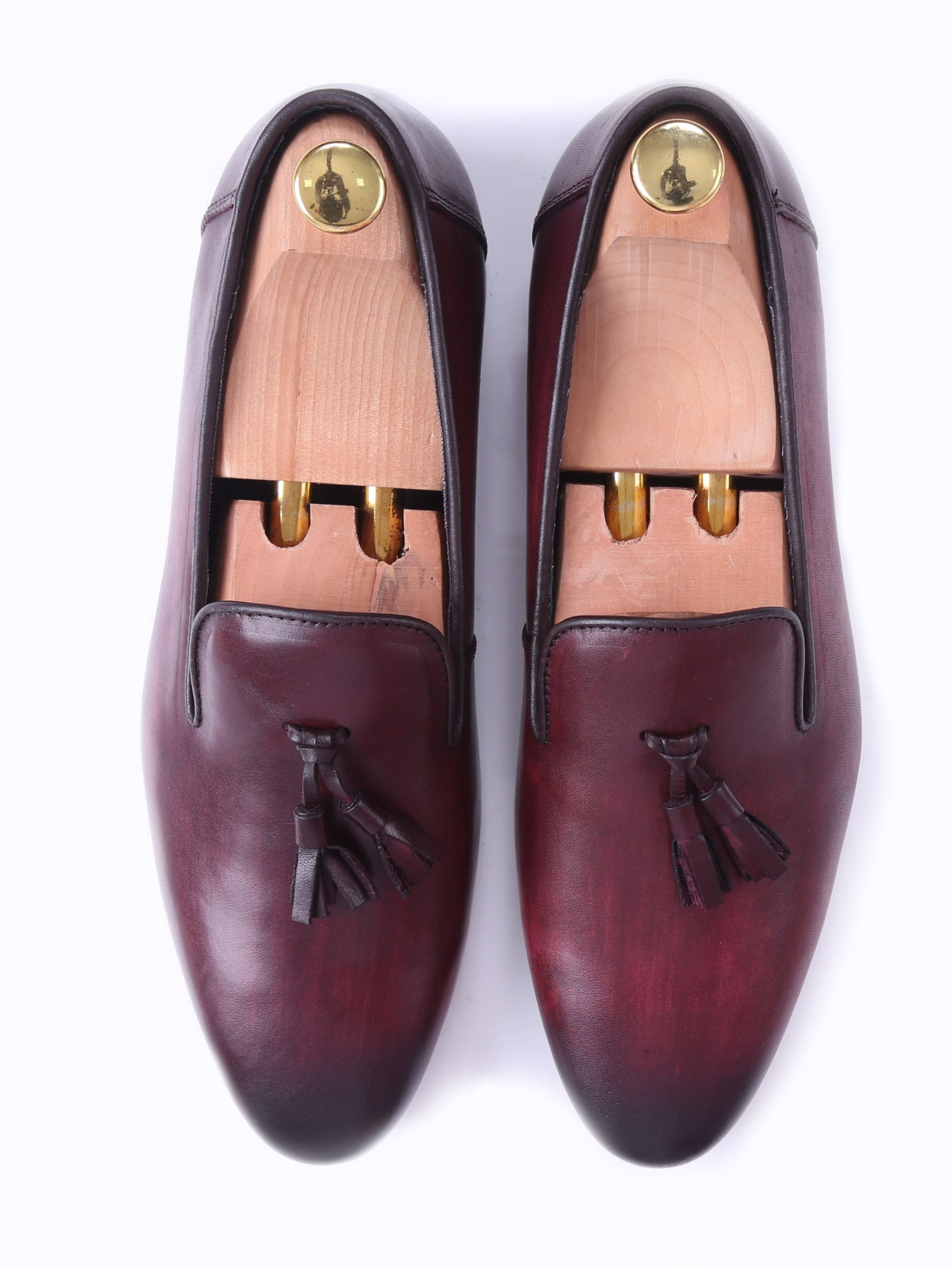 Shoes Loafer Slipper - Red Burgundy (Hand Painted Patina)