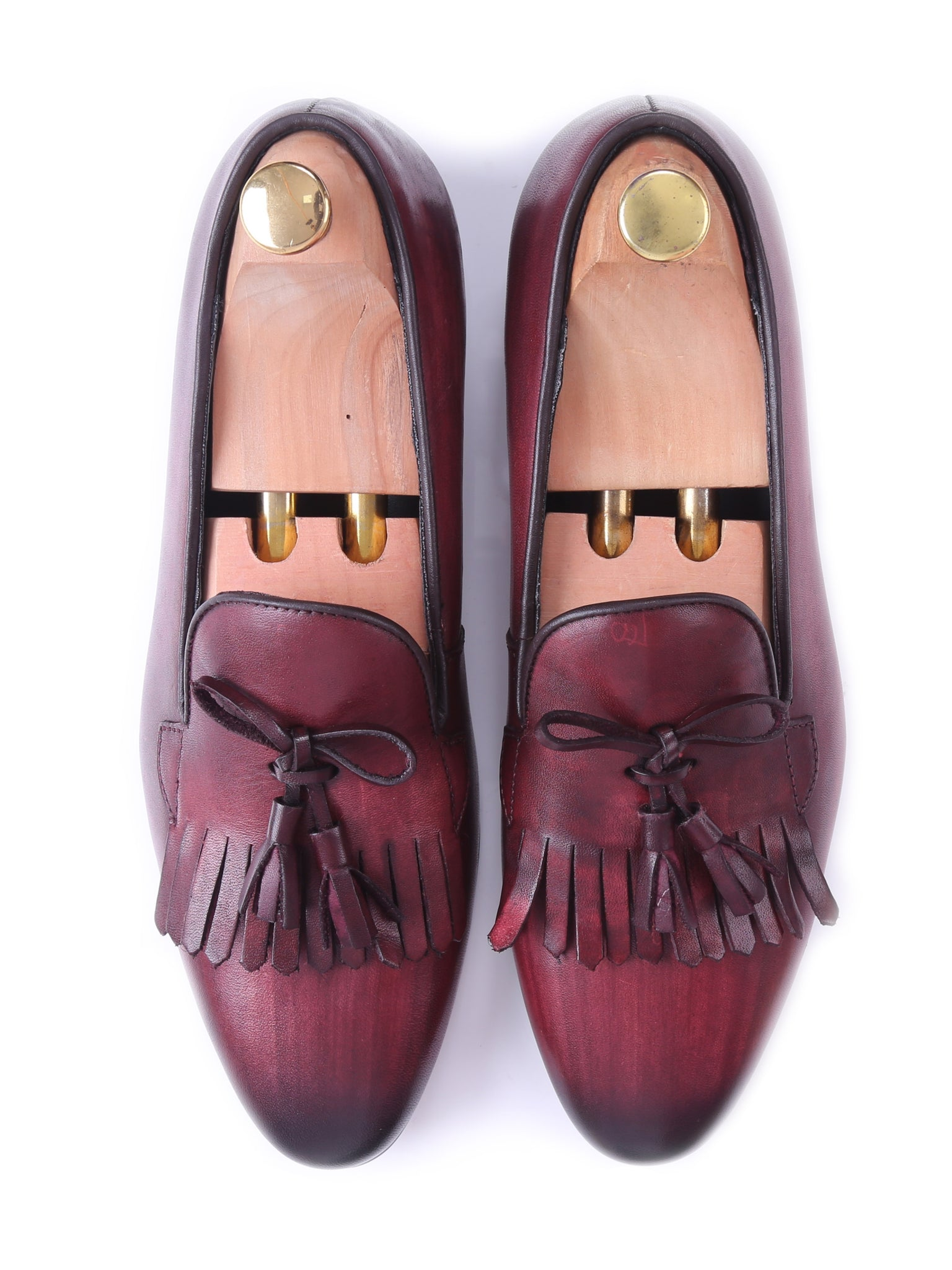 Shoes Loafer Slipper - Red Burgundy With Fringe Tassel (Hand Painted Patina)
