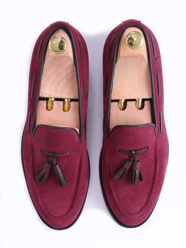 Tassel Loafer - Suede Red Violet