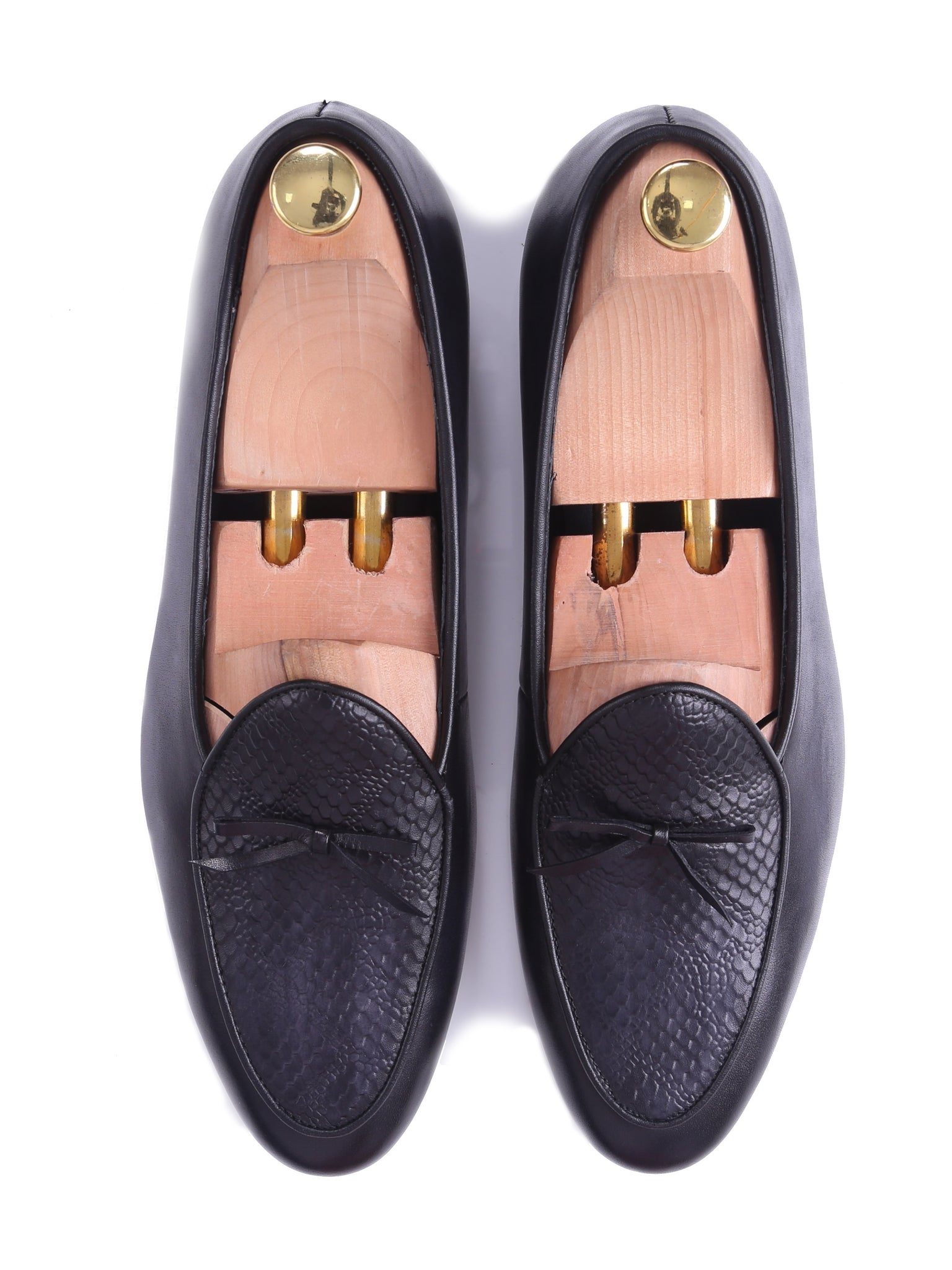Shoes Belgian Loafer - Dark Brown Snake Skin With Ribbon (Hand Painted Patina)