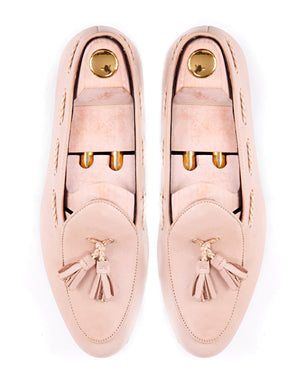 Women Belgian Loafer in Beige With Tassel