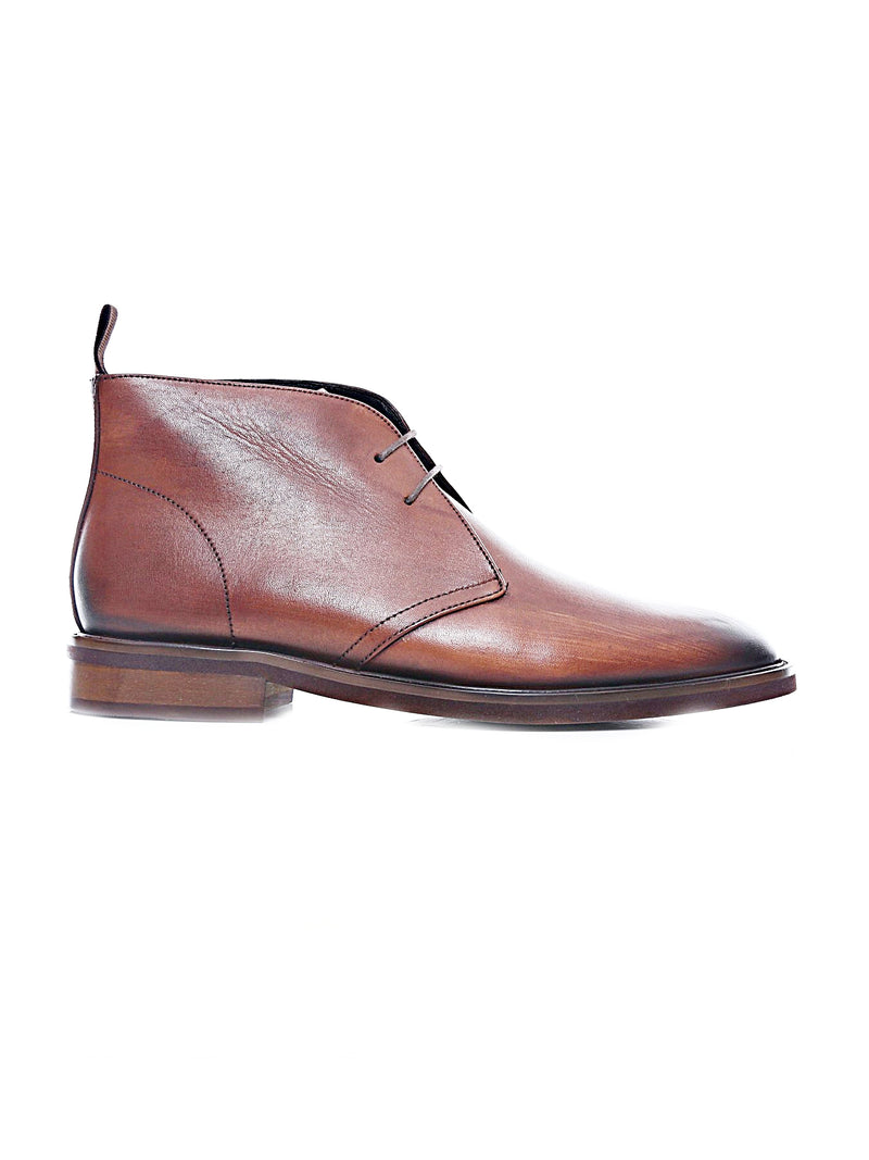Chukka Boots - Cognac Tan Leather Lace Up (Hand Painted Patina)