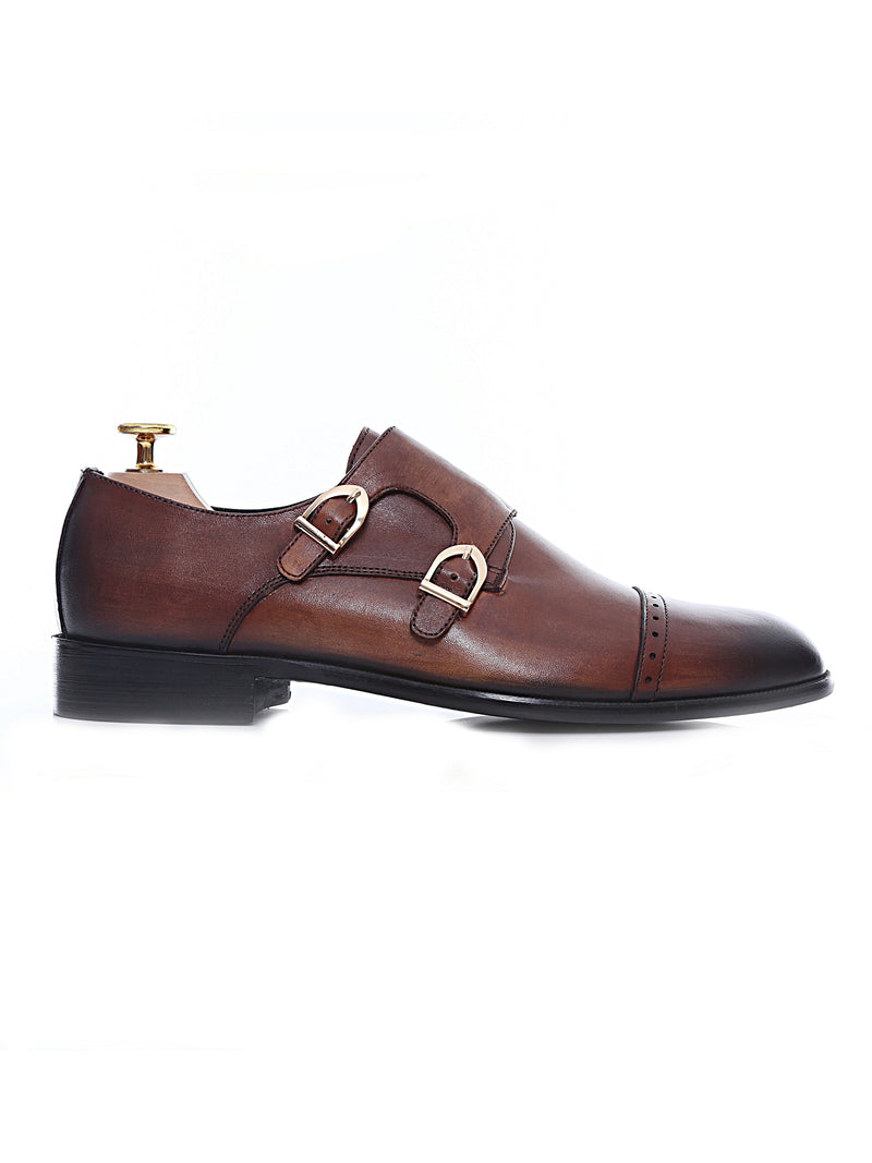 Double Monk Strap Dress Shoes - Cognac Tan (Hand Painted Patina)