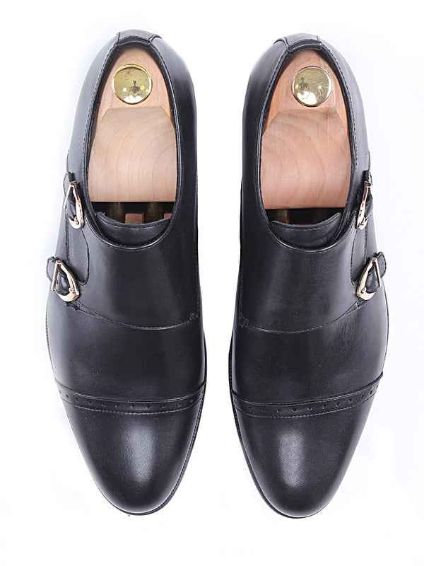 Double Monk Strap Dress Shoes - Black