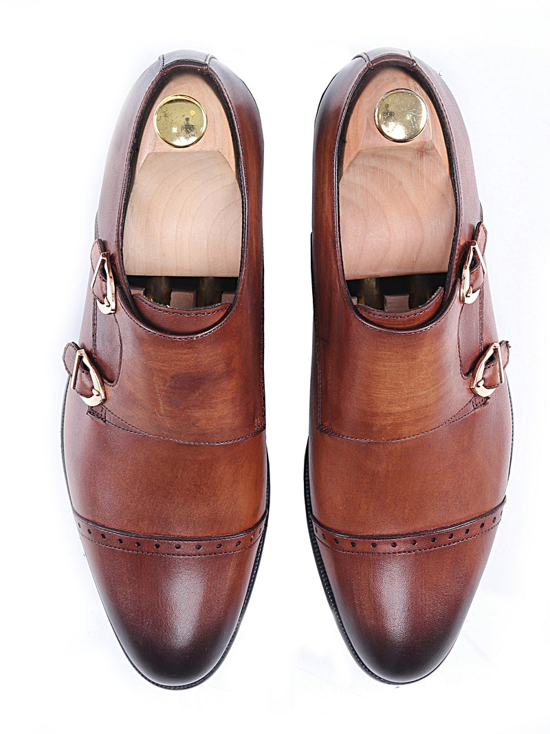 Double Monk Strap - Cognac Tan (Hand Painted Patina)