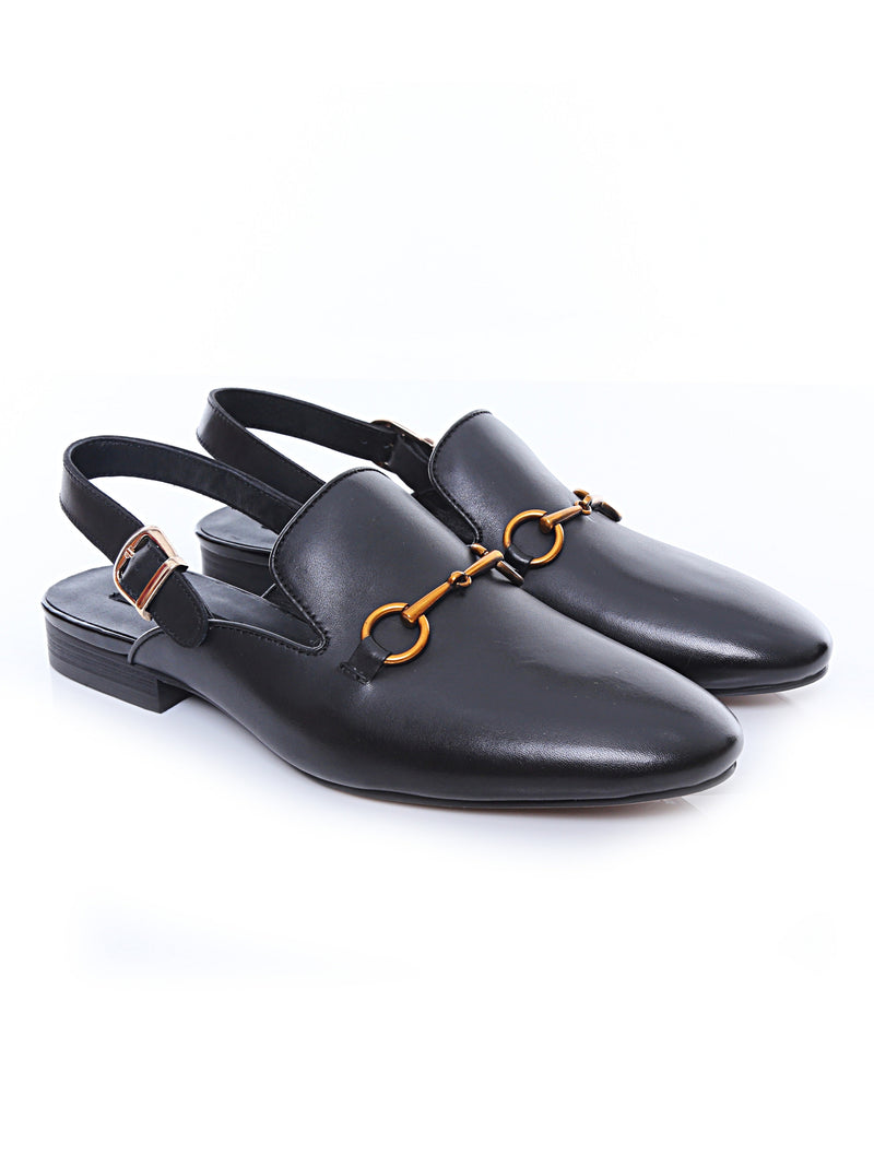 Mules Slingback Strap - Black Leather Brass Horsebit Buckle