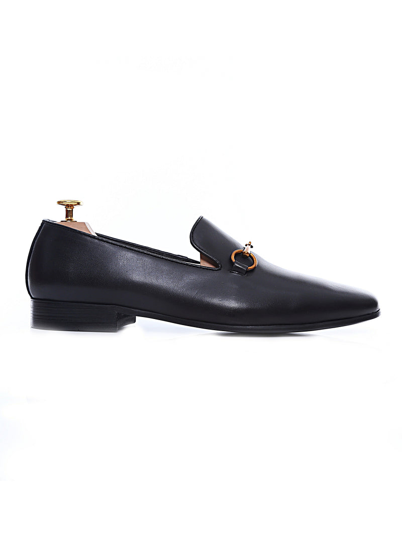 Loafer Slipper - Black Leather Brass Horsebit Buckle