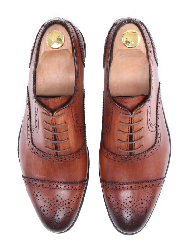 Oxford Cap Toe - Cognac Tan Semi Brogue Lace Up (Hand Painted Patina)