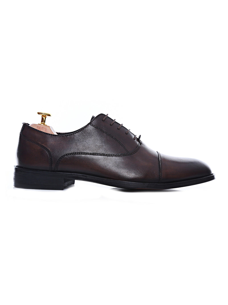 Oxford Cap Toe - Dark Brown Lace Up (Hand Painted Patina)