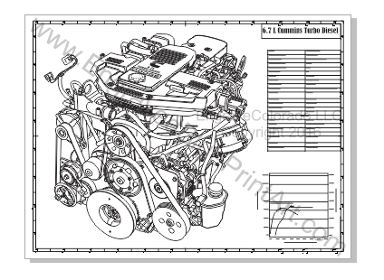 Dodge Ram 3500 Engraved Blueprint Art