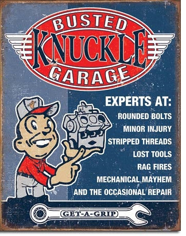 Decorating ideas for the garage metal sign
