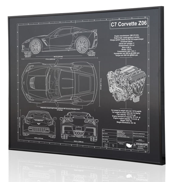 Black Anodized Aluminum Laser Engraved Blueprint Artwork Wall Decor