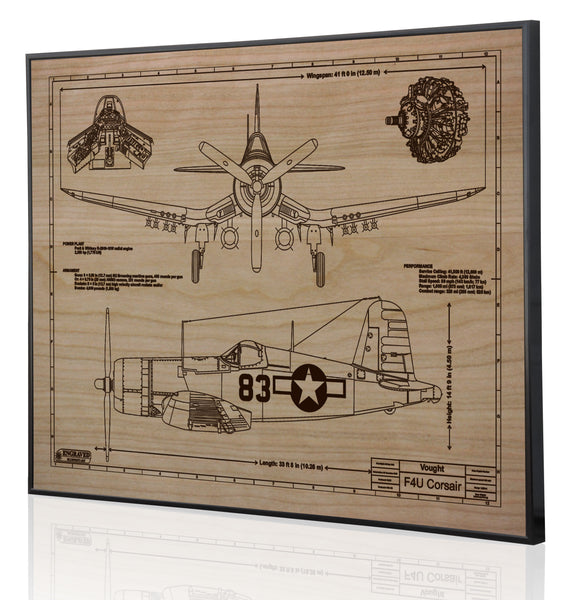 Laser Engraved Cherrywood Blueprint of a F4U