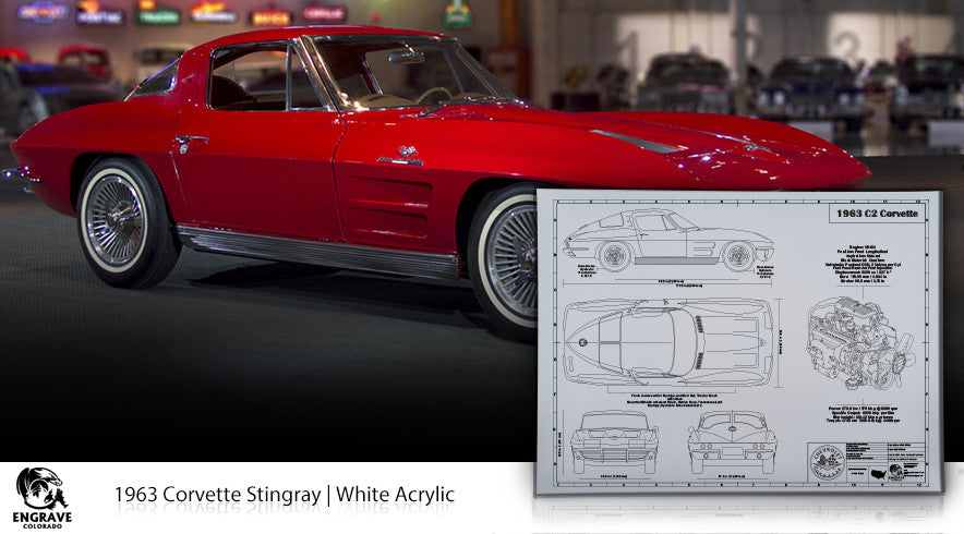 Corvette Blueprint on white acrylic