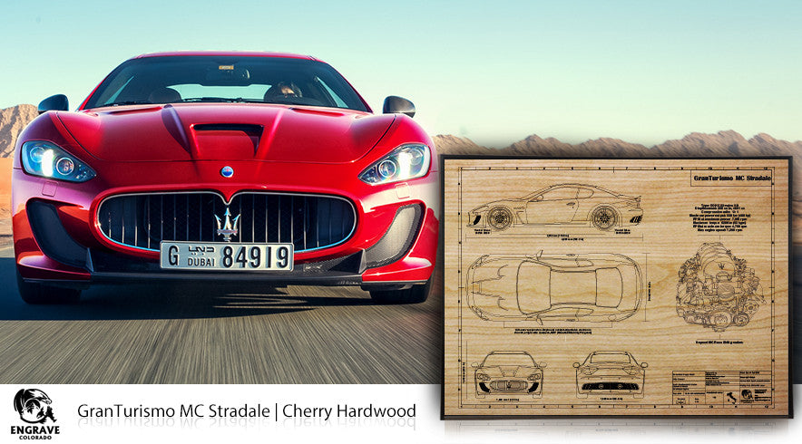 Maserati GranTurismo mc Stradale Blueprint on wood
