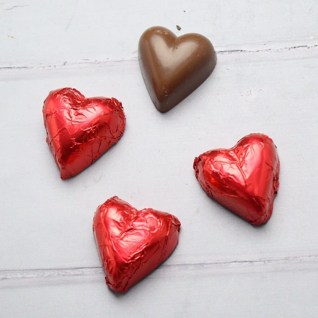4 red chocolate hearts