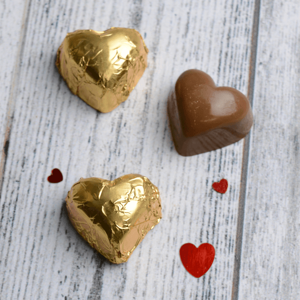 4 Gold Chocolate Hearts - Personalised Gifts - Morse Toad