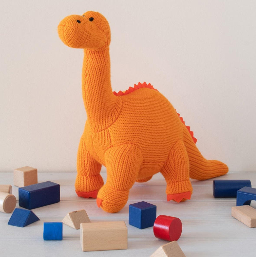 Orange Knitted Large Diplodocus Soft Toy