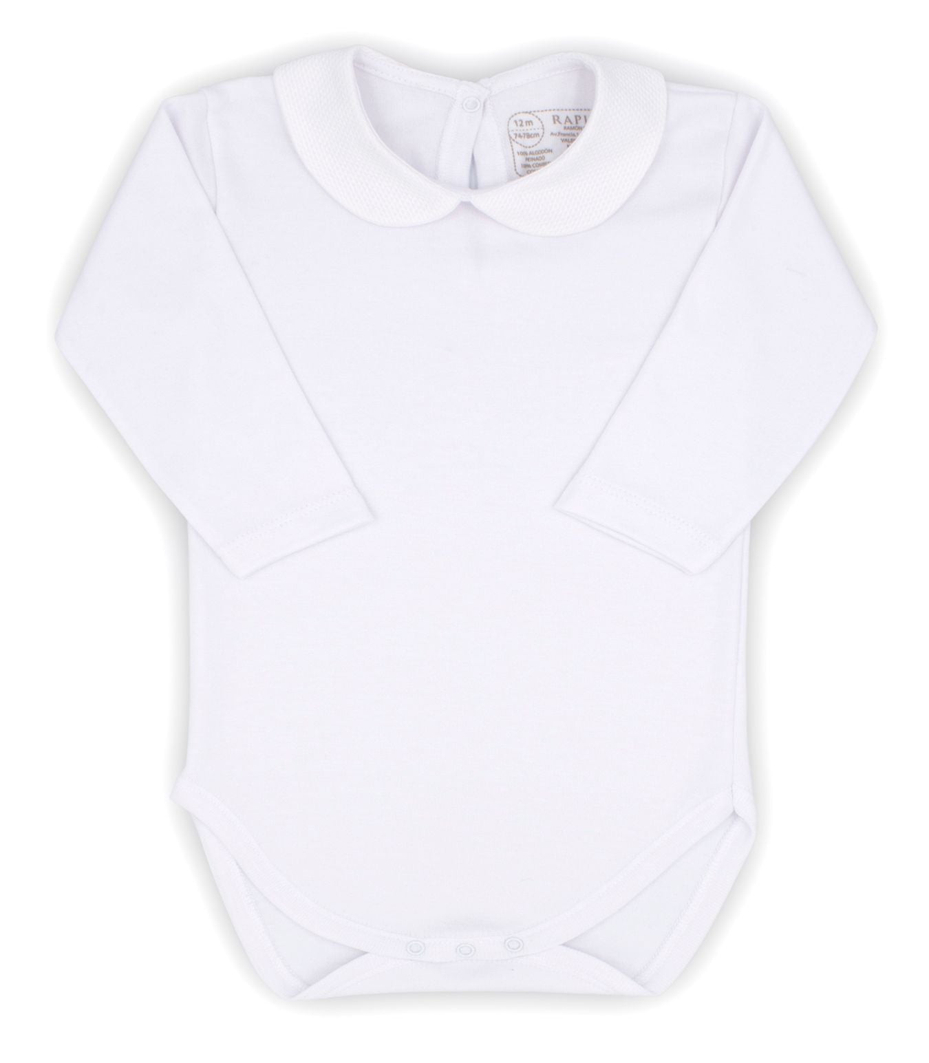 Rapife Baby Unisex White Cotton Body Top Peter Pan Collar