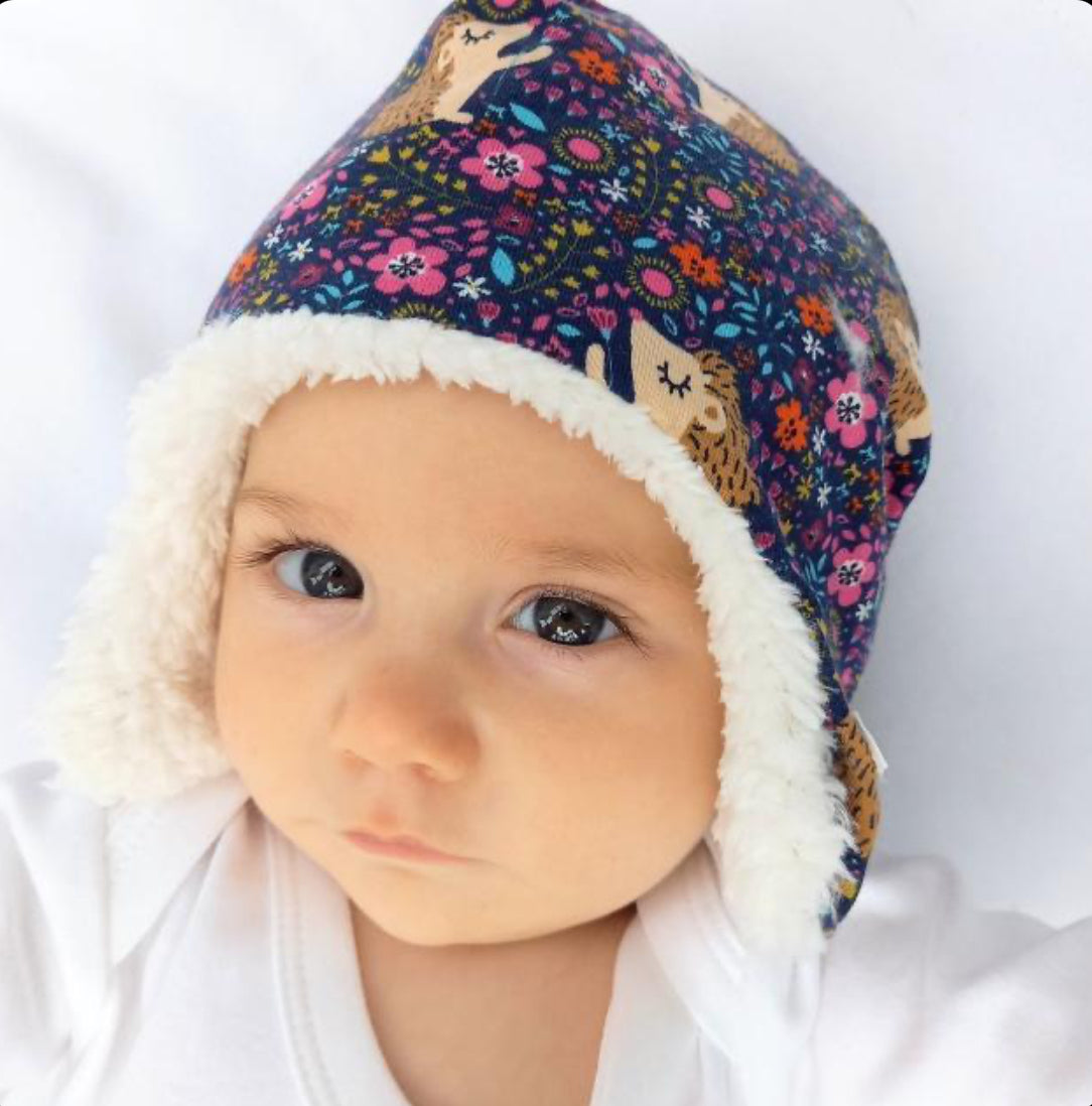 Freckles & Daisies Hedgehog Print Trapper Hat