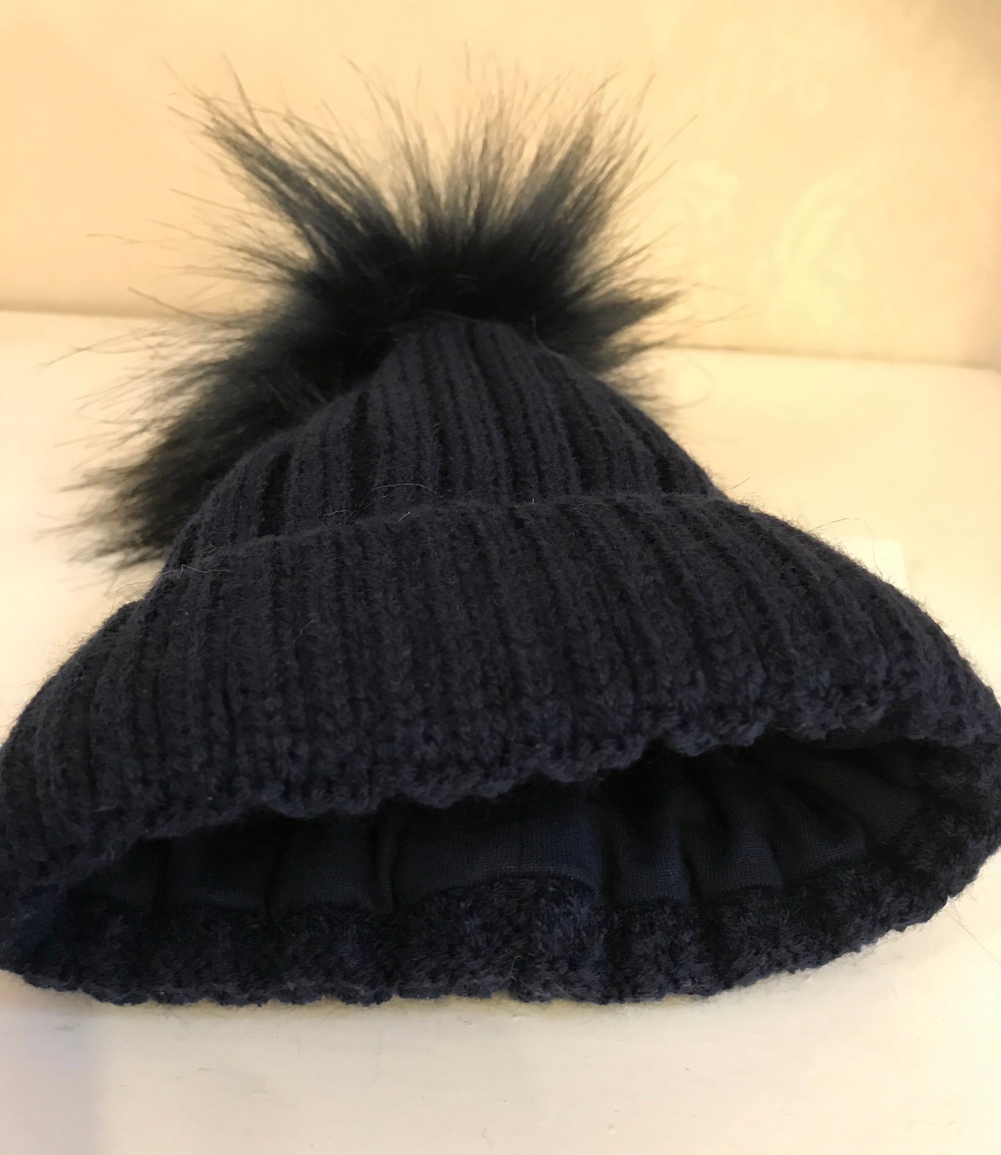 Navy Blue Faux Fur Pom Knitted Bobble Hat Cascade