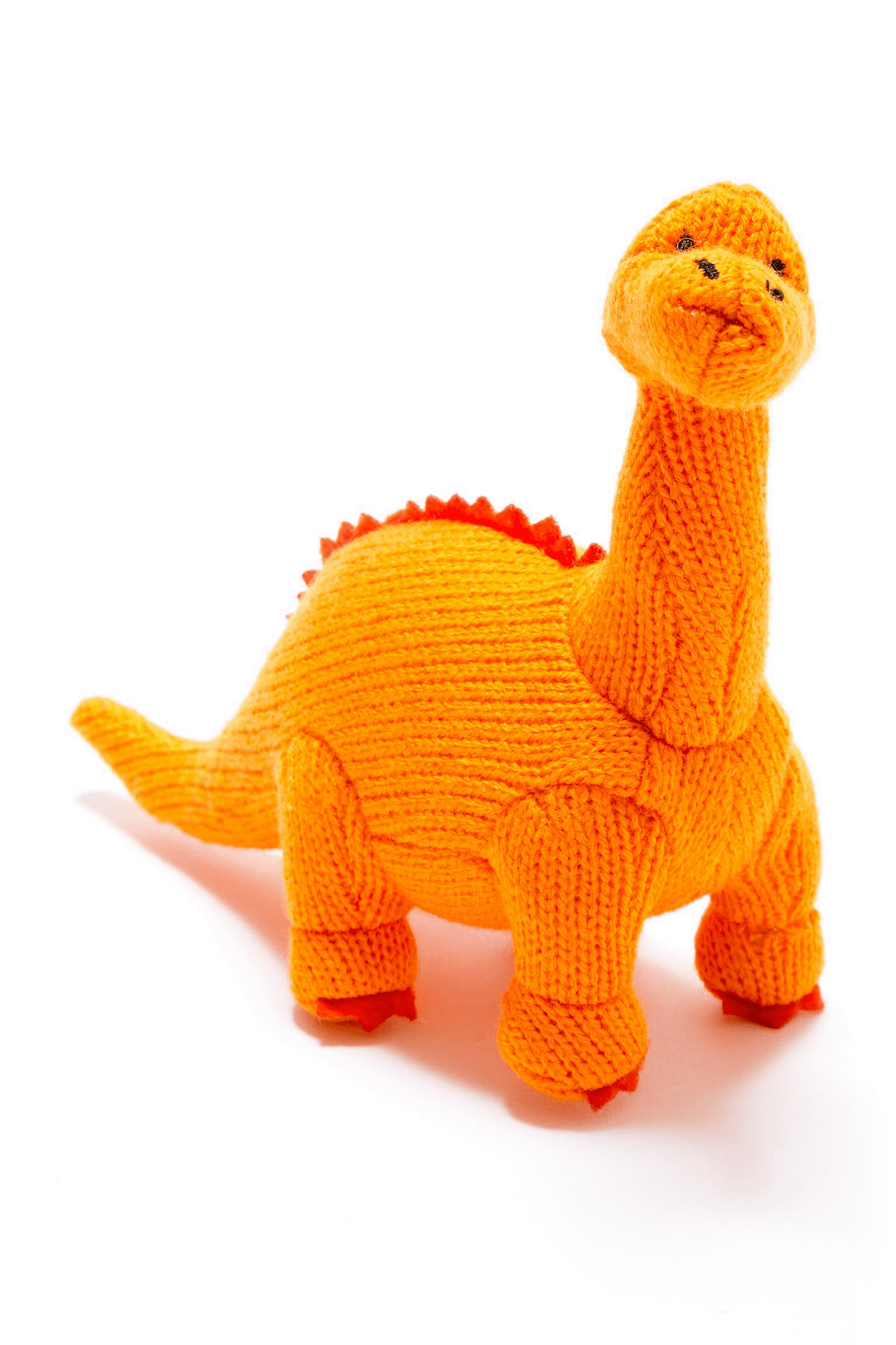 Small Knitted Orange Diplodocus Dinosaur Rattle