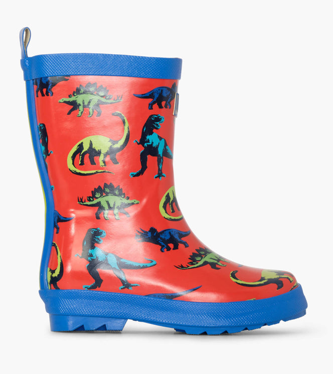 Hatley Painted Dinos Shiny Wellies