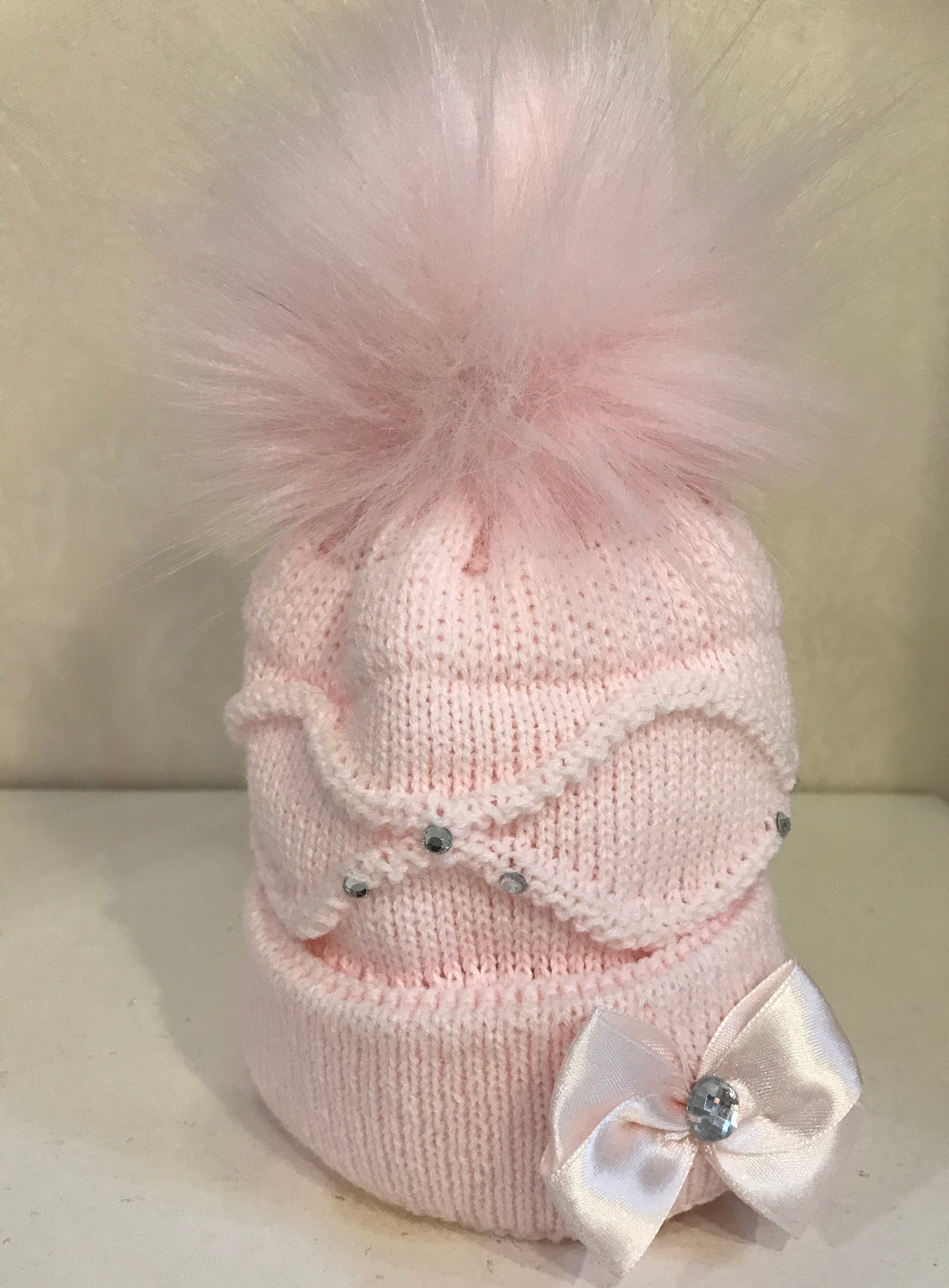 Baby Girl Pink Faux Fur Pom Knitted Hat With bow & Diamante Baby Ballerina