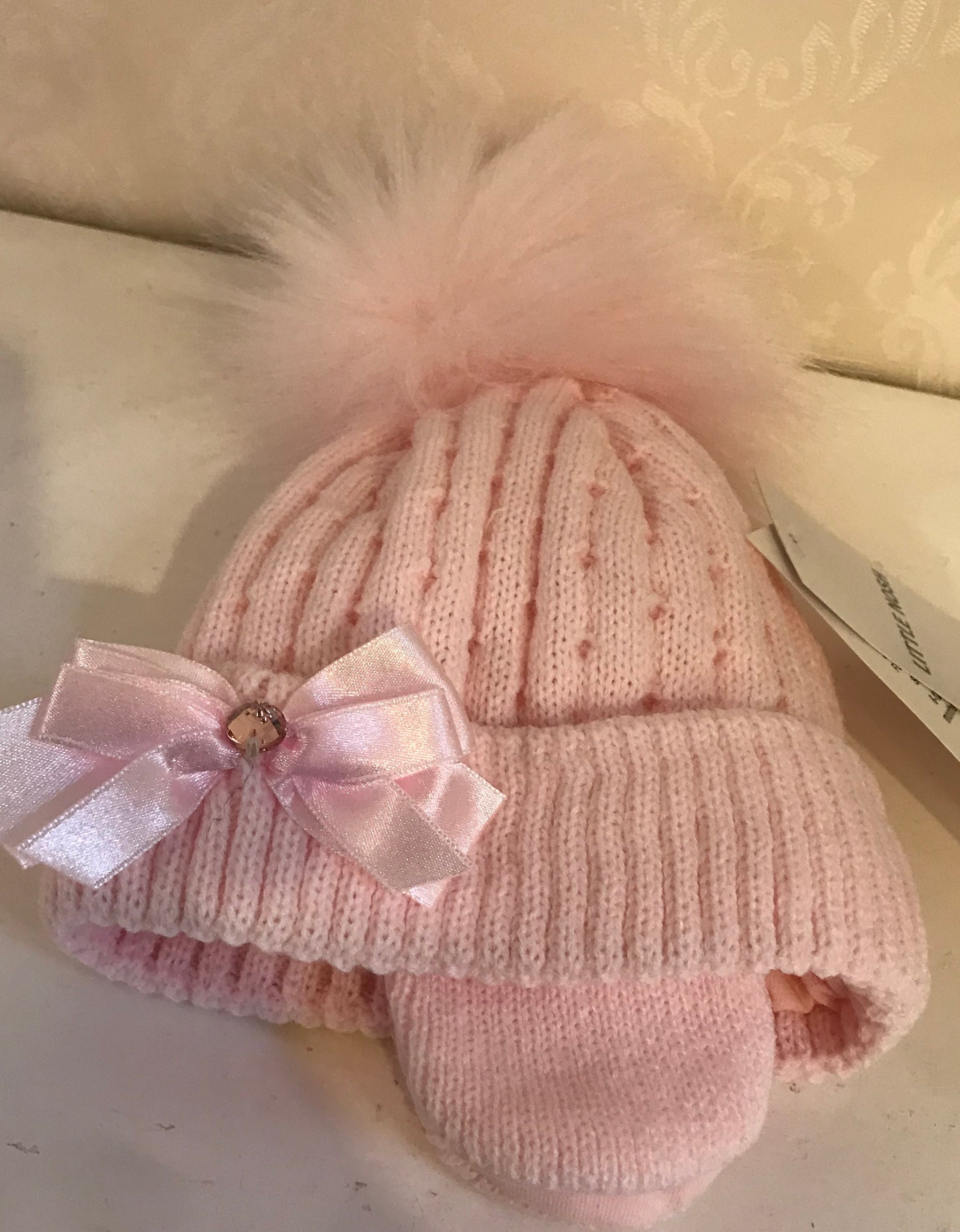 Baby Girl Pink Faux Fur Pom Knitted Hat With bow Baby Princess