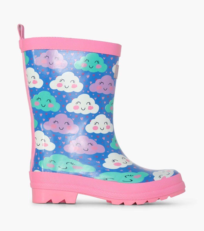Hatley Cheerful Clouds Shiny Wellies SALE