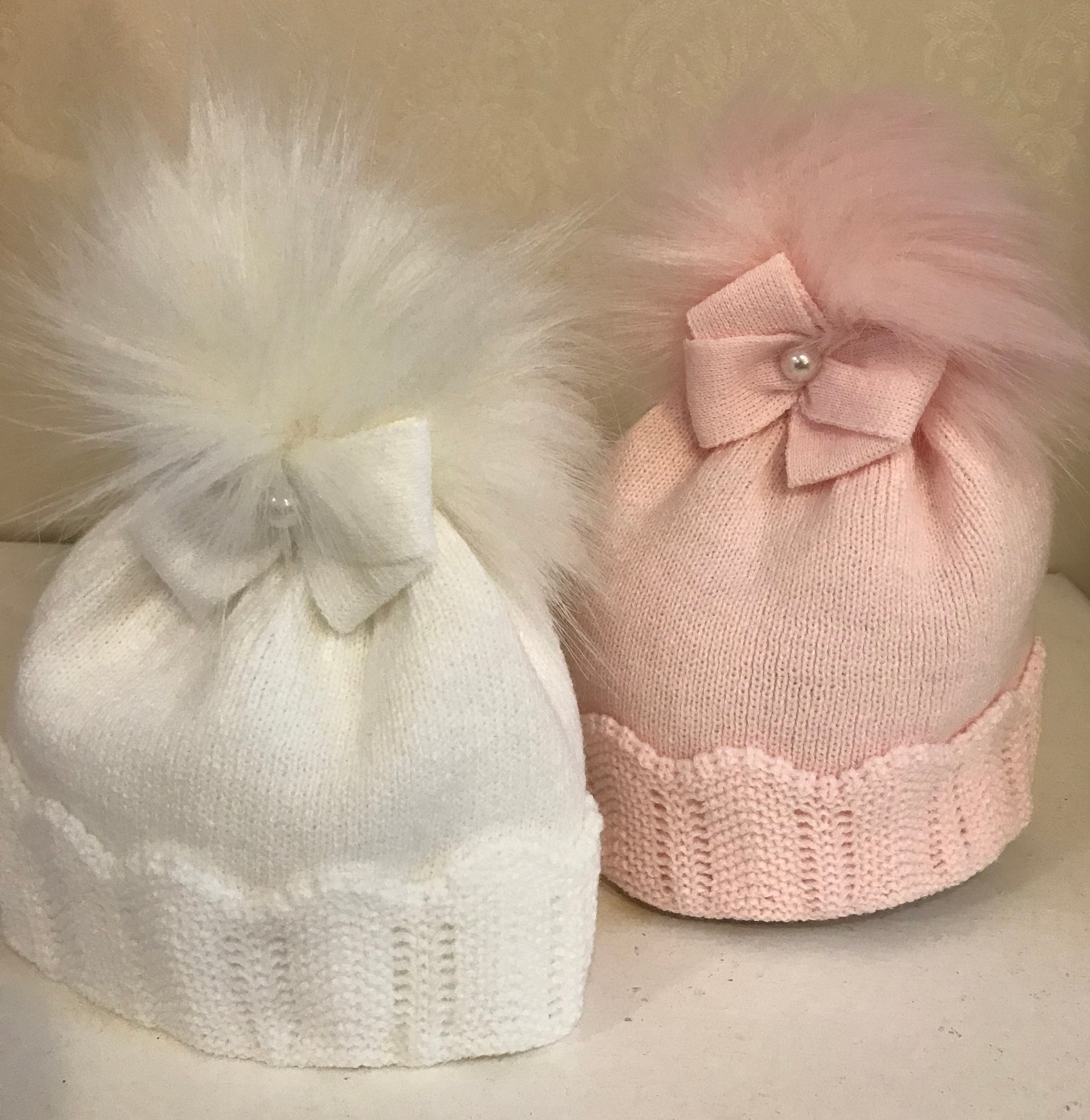 Baby Girl White Faux Fur Pom Knitted Hat With bow Baby Sensation