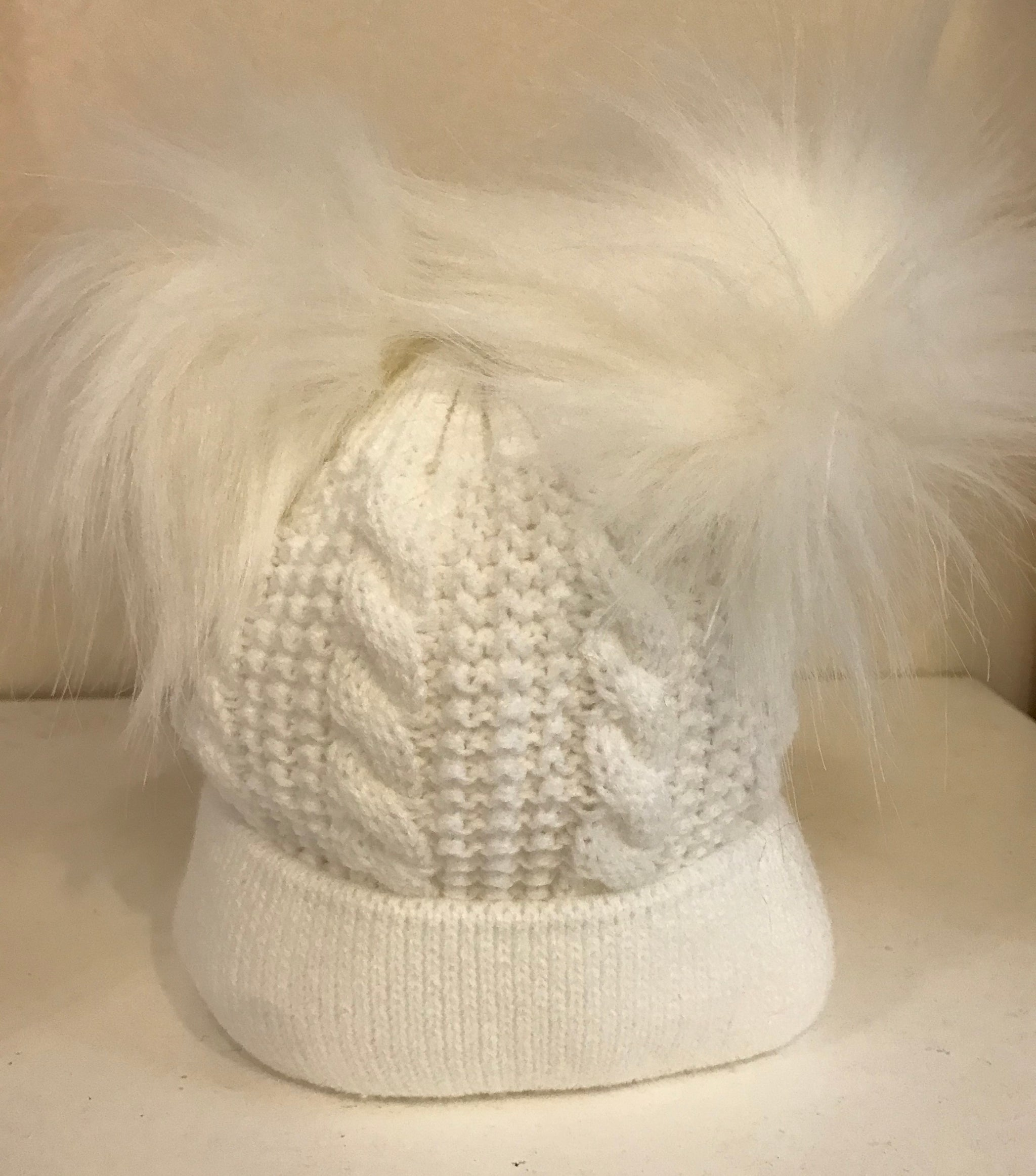 White Double Faux Fur Pom Knitted Hat Sonata