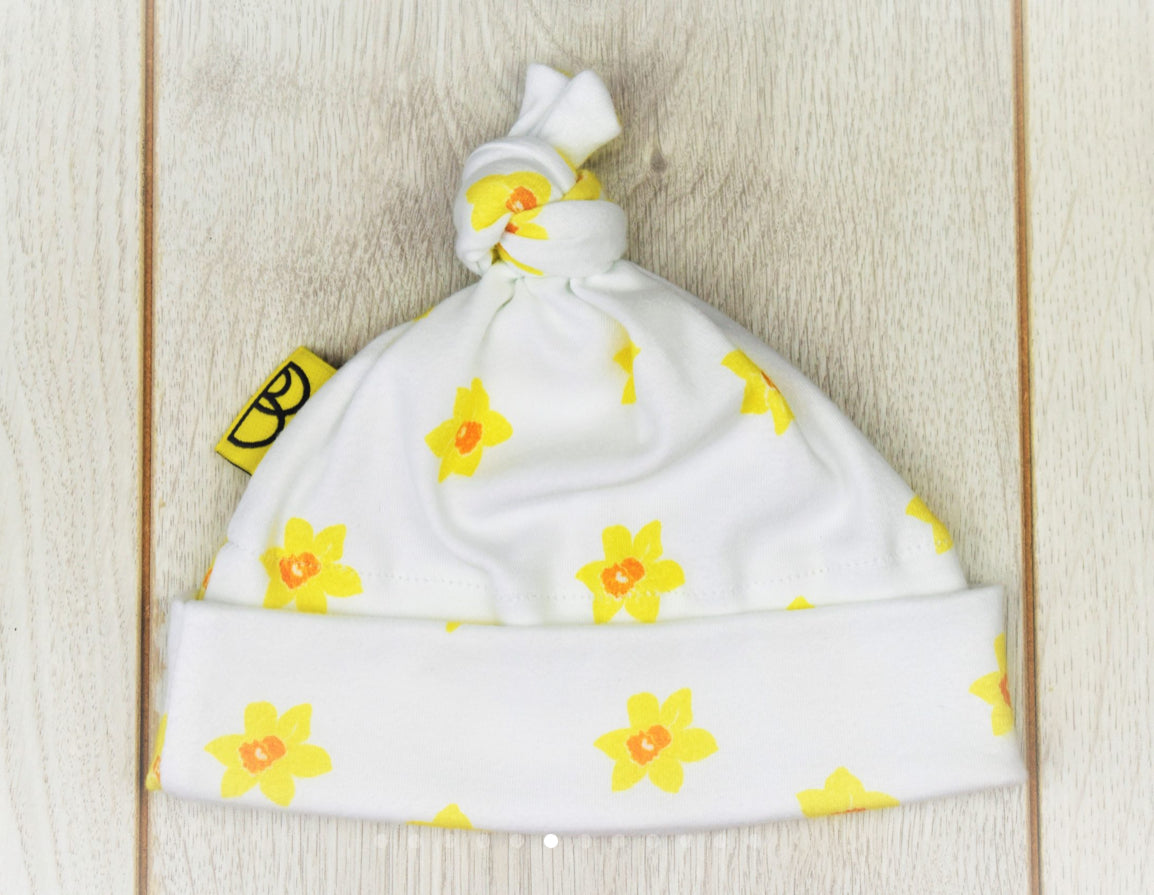 Daffodil Print White Baby Hat From Babi Bw