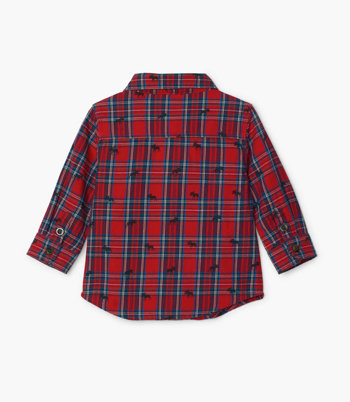 Hatley Red Plaid Moose Baby Button Down Shirt