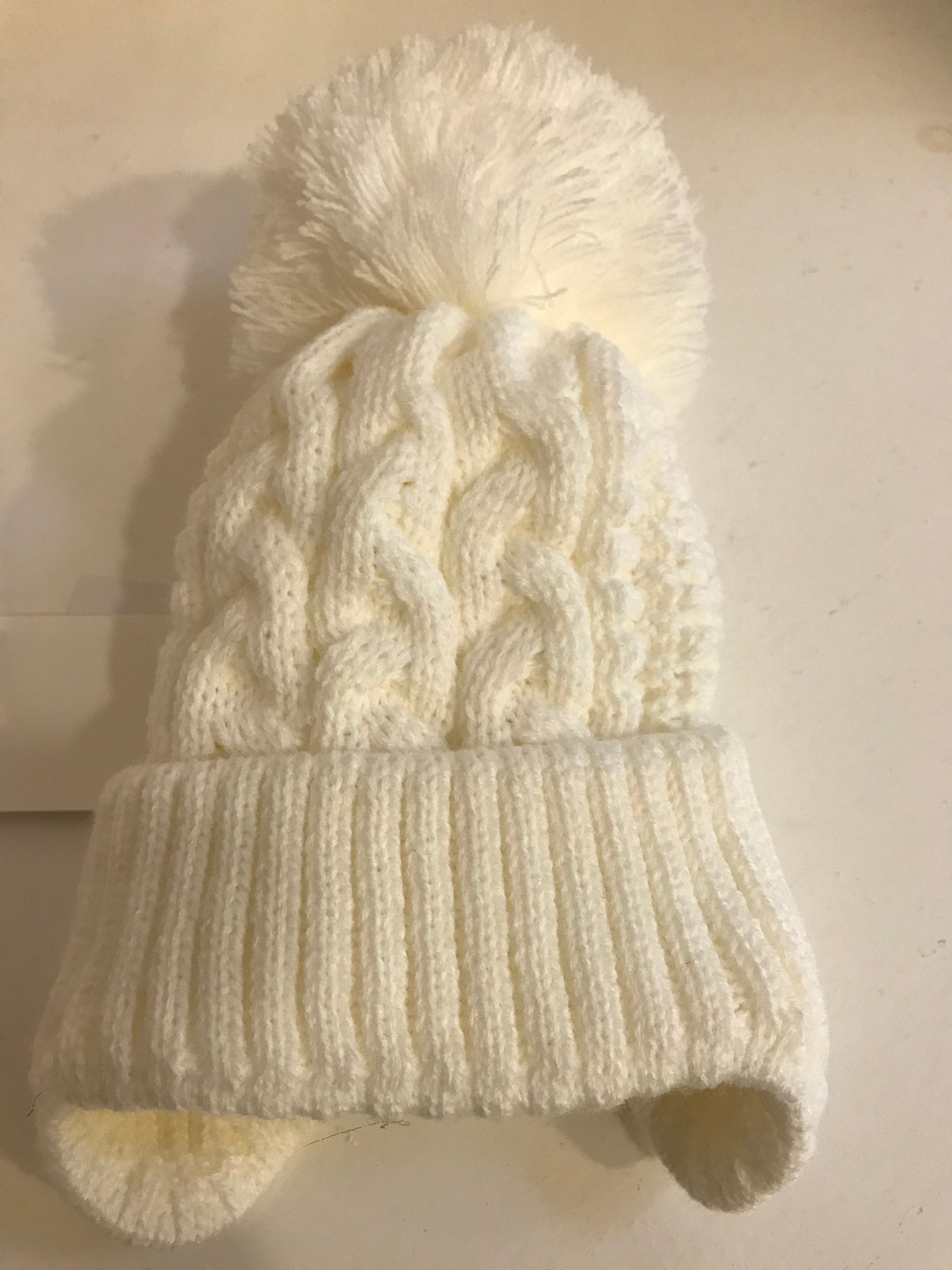 Baby Little Gem Cream Pom Cable Style Knitted Hat