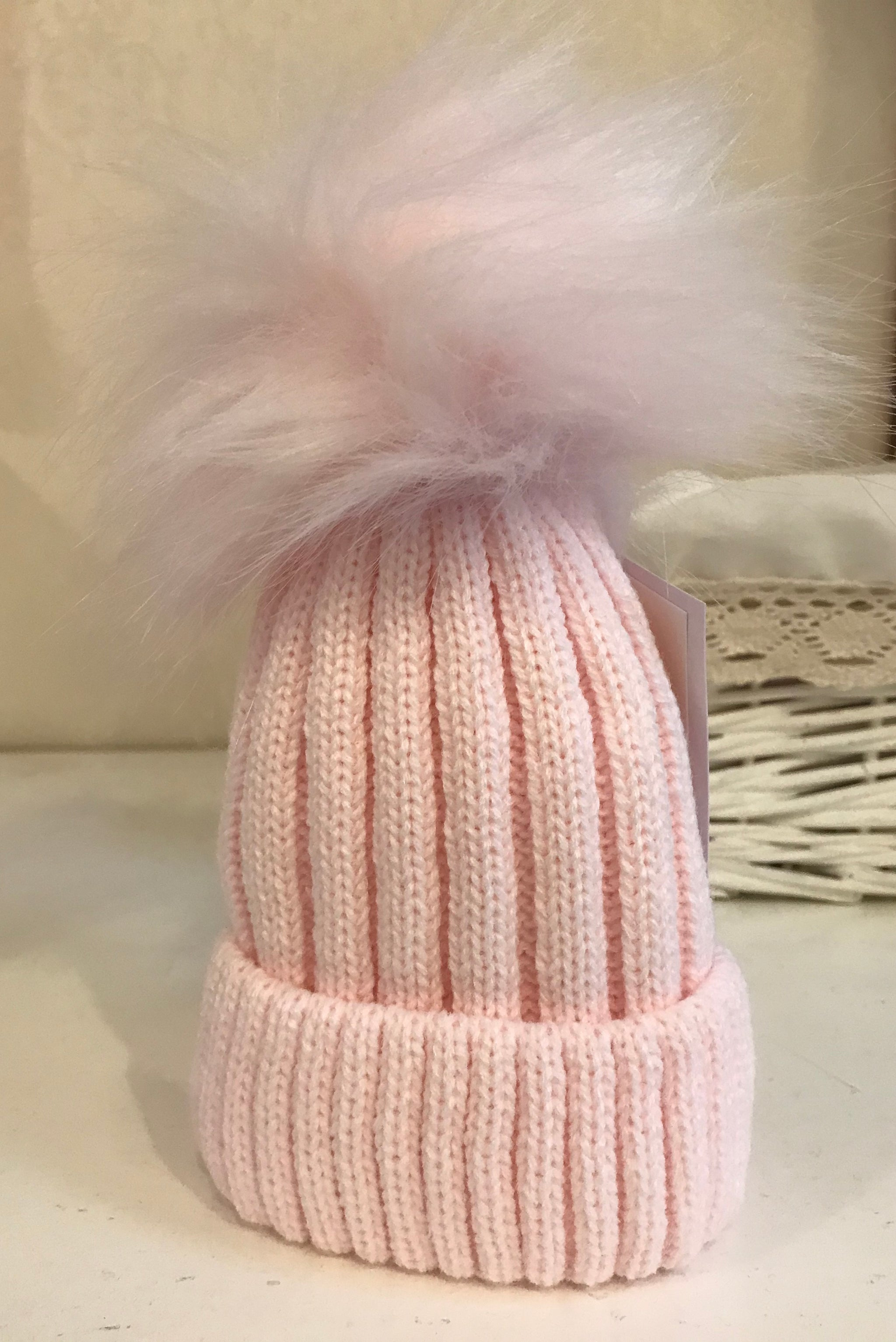 Baby Girl Pink Faux Fur Pom Knitted Bobble Hat Baby Cascade SALE