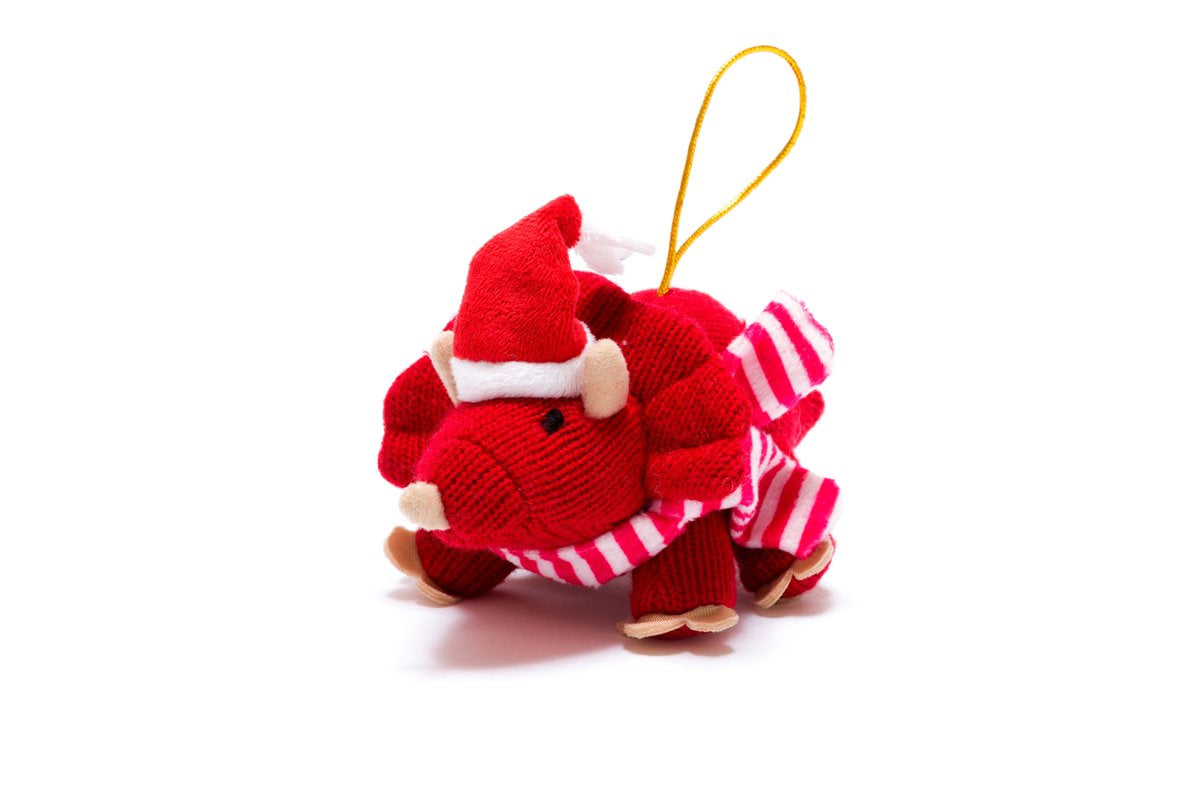 Knitted Triceratops Dinosaur Christmas Decoration