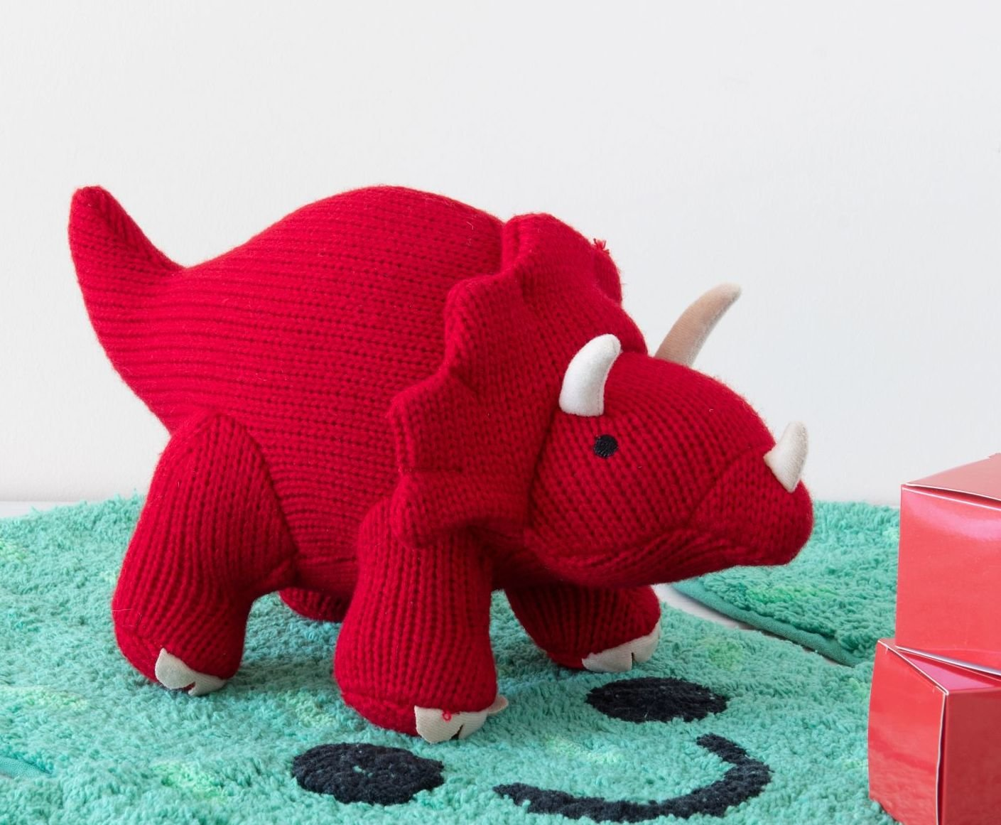 Small Knitted Red Triceratops  Dinosaur Rattle