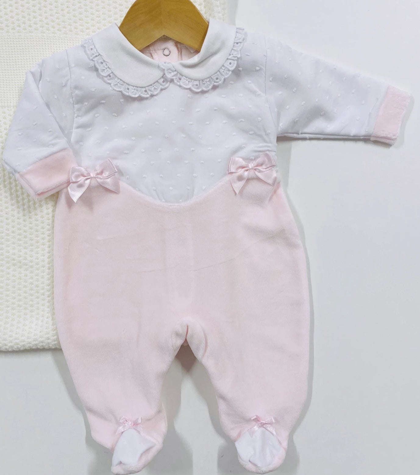 Baby Pale Pink Velour Traditional Babygrow Bow Detail Little Nosh
