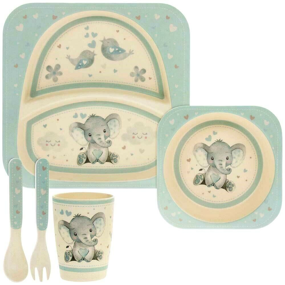 Blue Baby Elephant Print Bamboo Plate, Cup, Bowl, Spoon & Fork Set