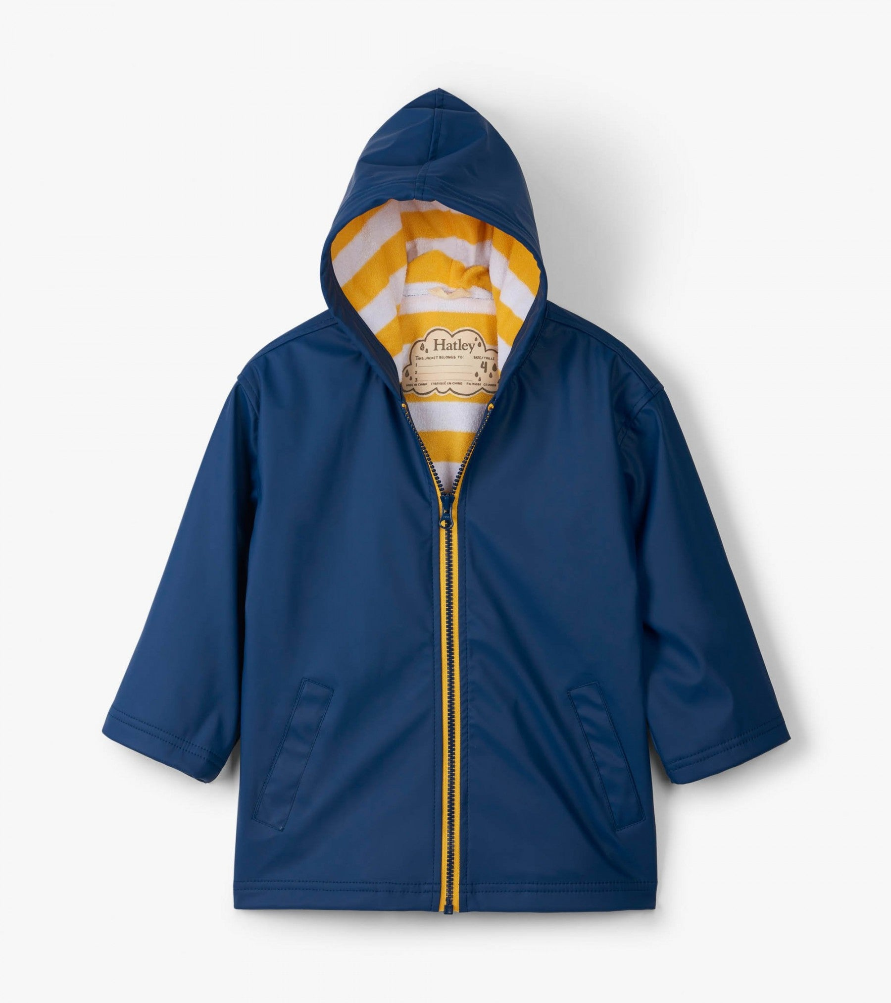 Hatley Navy with Yellow Stripe Lining Splash Jacket SALE