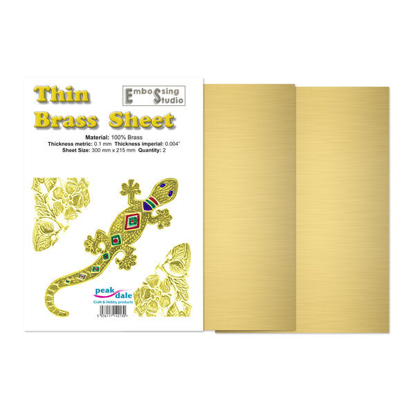 Brass Foil Pack - Thin 0.1 mm - 2 sheets