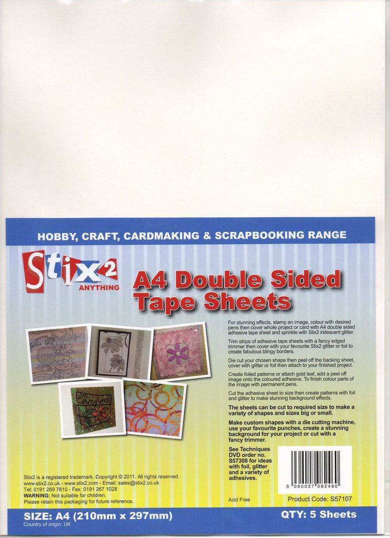 Stix2 - A4 Double Sided Adhesive Tape Sheets - Pack of 5