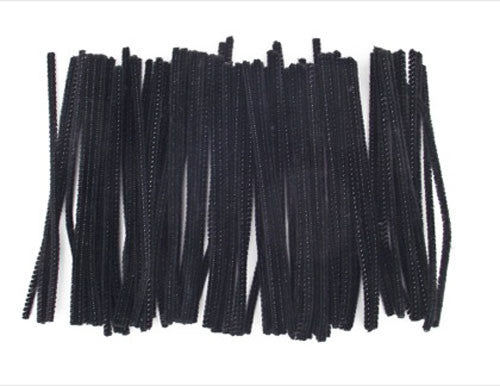 Acrylic Pipecleaners 15cm Black pack 100
