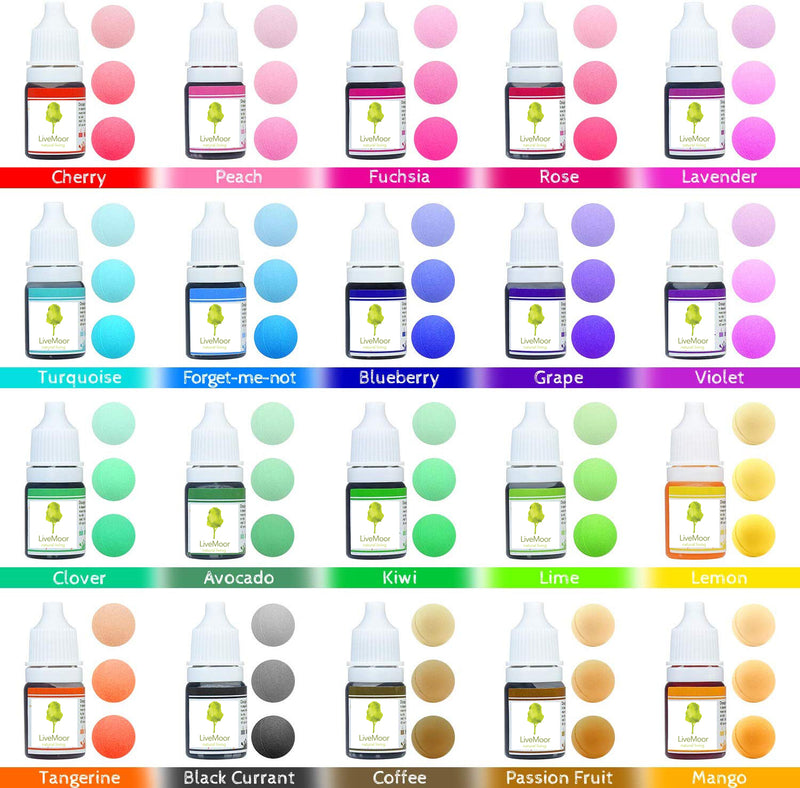 Liquid Dye's for Soap - Sets of 10 or 20 - 10ml Bottles - Various Colours