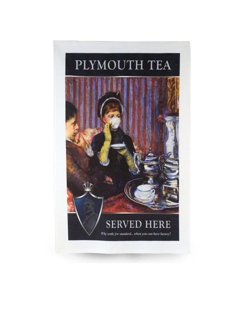 Plymouth Tea Tea Towel with Lady