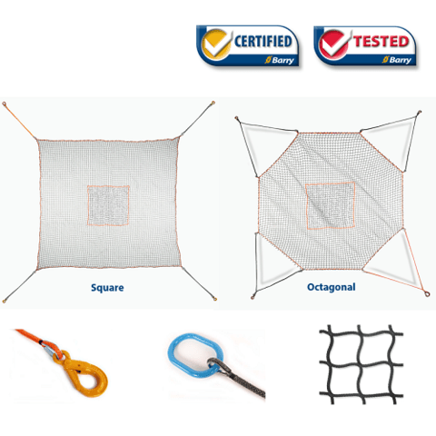 Helicopter Cargo Net - 5 000 lbs WLL - Octogonal Model C - (16' x 16')
