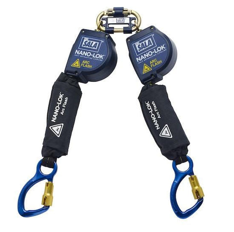Nano-Lok™ Arc Flash Twin-Leg Quick Connect Self Retracting Lifeline - Web - Aluminum Carabiners - Barry Cordage