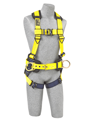 Delta™ Construction Style Positioning Harness quick connect buckle leg straps (size Large) - Barry Cordage